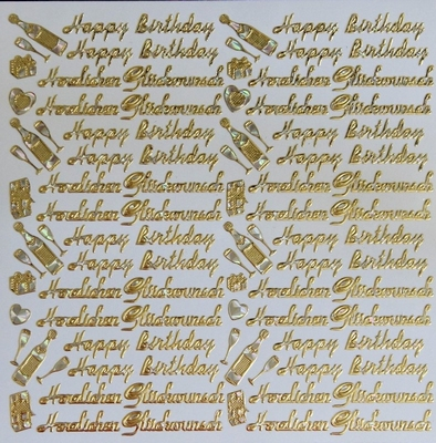 STG326 Happy Birthdayr afm.Stickervel 15 X 15 CM