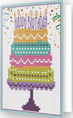 DDG.004 Diamond Dotz® - Greeting Card HAPPY BIRTHDAY CAKE
