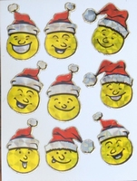 STE303 Kerstsmiley afm.stickervel 10 X 7,50 CM