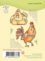 55.3370 Clear stamp Rooster & Hen