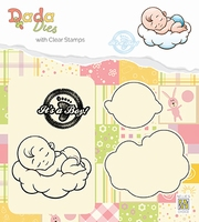"DDCS010 DADA Set Die & Clear stamp ""It's a boy: sweet dreams"