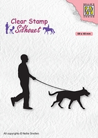 SIL070 Clear stamps Men-things Man with dog