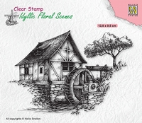 IFS028 Clear stamps Idyllic Floral Scenes Water-mill