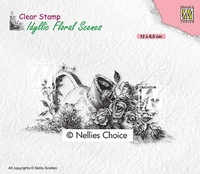IFS034 Clear Stamps Idyllic floral scenes Vase with roses