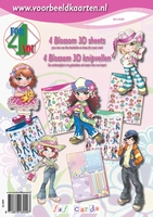 4ForYou Booklet with 4 Blossom 3D Sheets + Basic carton