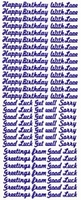 ST167Z Sticker Happy Birthday/Love/Good Luck  Zilver